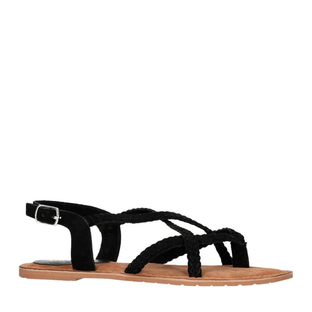 Sacha   suède sandalen zwart, Zwart