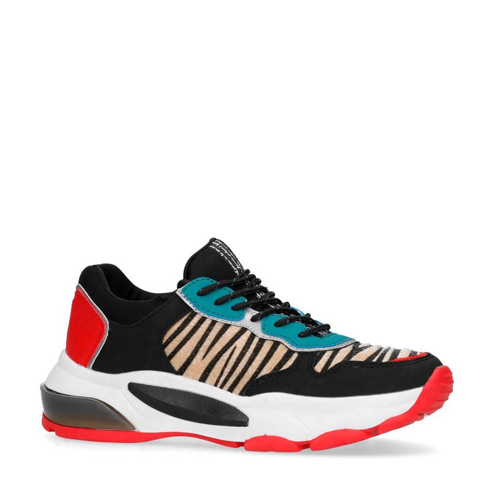 Sacha  dad sneakers zwart/rood, Zwart/Rood/Zebraprint