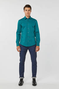 WE Fashion slim fit overhemd petrol, Petrol