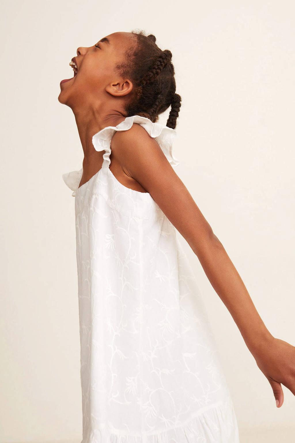 Mango Kids jurk met borduursels wit, Wit