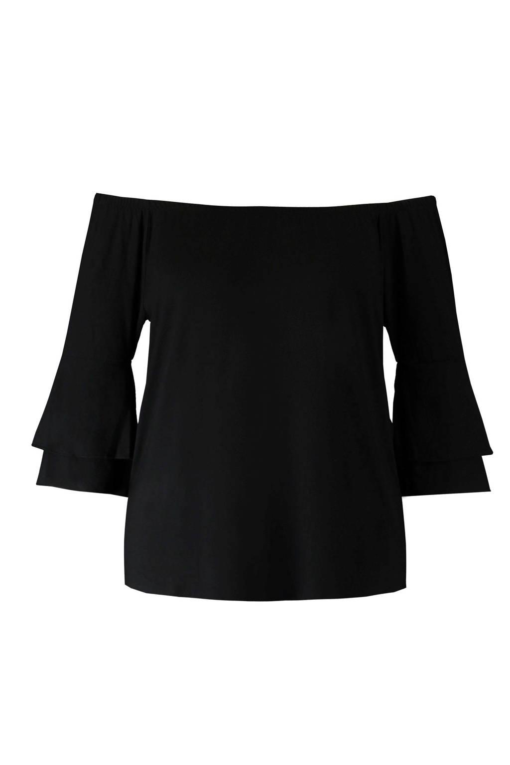 MS Mode off shoulder top zwart, Zwart