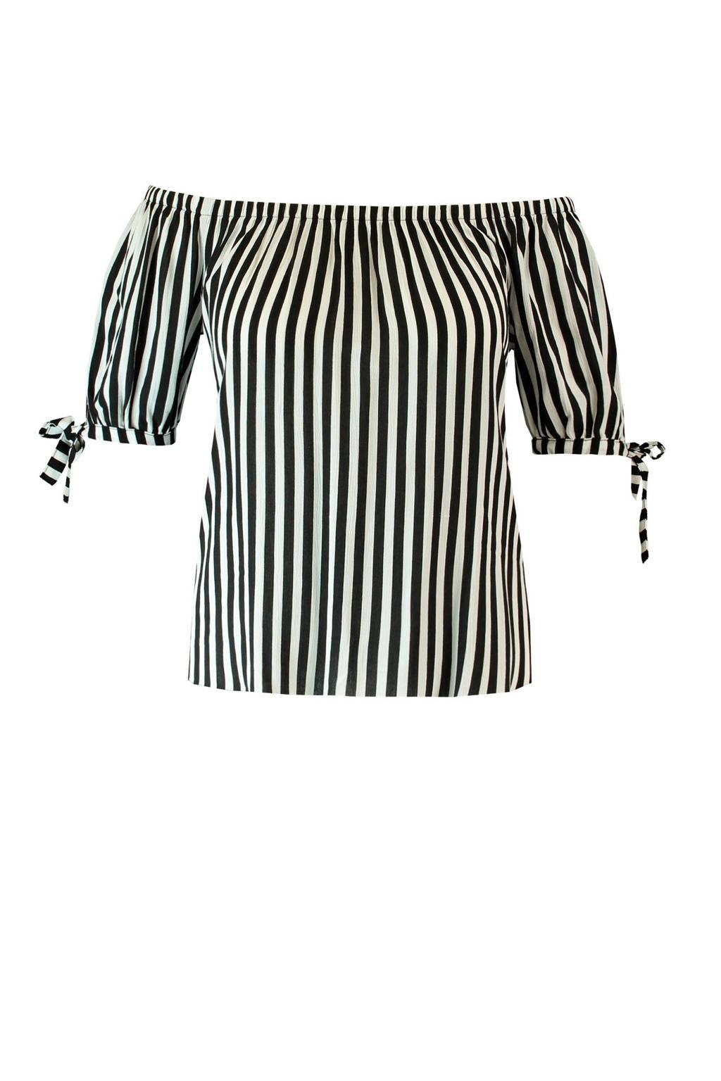 MS Mode gestreepte off shoulder top zwart/wit, Zwart/wit