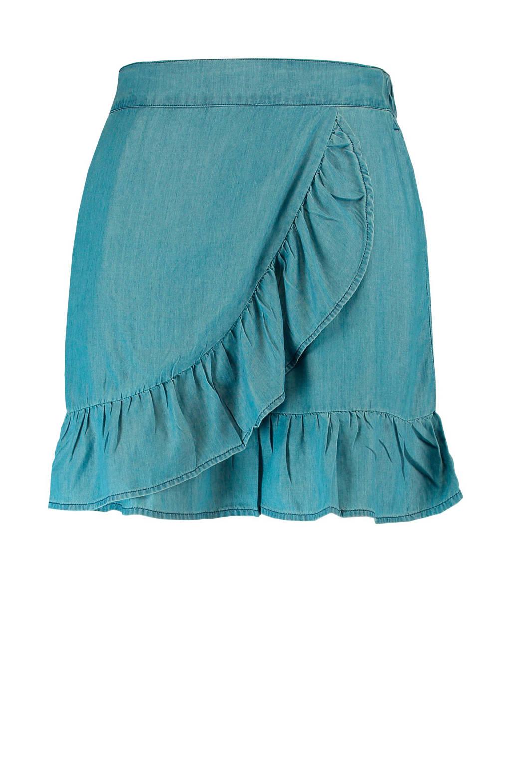 MS Mode rok met ruches en zakken denim, Blauw