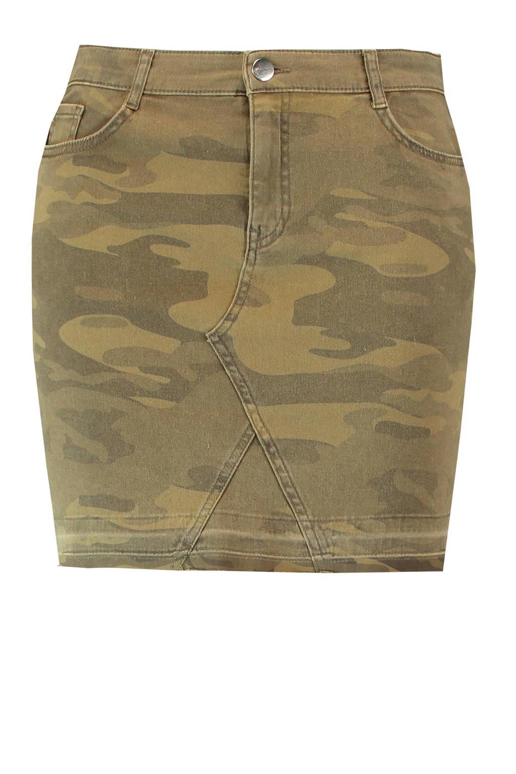 MS Mode spijkerrok met camouflage print, Groen