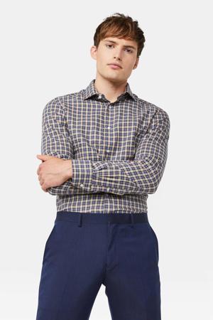 geruit slim fit overhemd blauw/bruin
