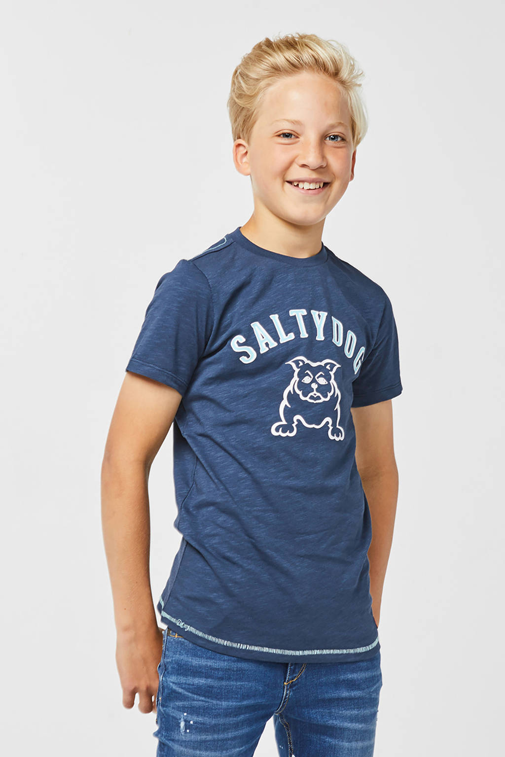 WE Fashion T-shirt met printopdruk donkerblauw, Donkerblauw