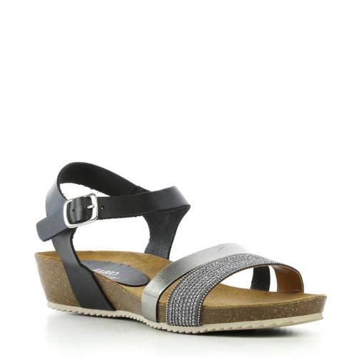Fabio Deveraux leren sandalen zwart/zilver kopen