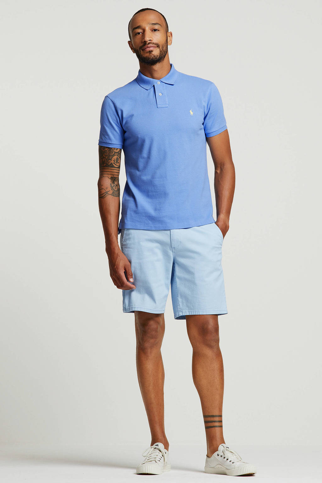 POLO Ralph Lauren slim fit polo met logo blauw, Blauw