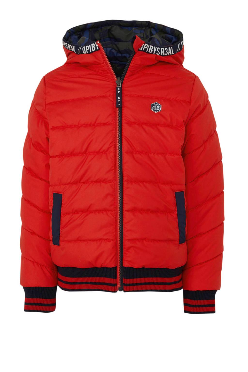 Quapi reversible winterjas Tjeerd donkerblauw/rood, Donkerblauw/rood