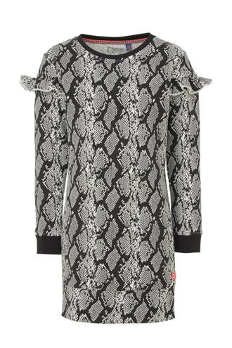 jurk Tade met slangenprint donkergrijs