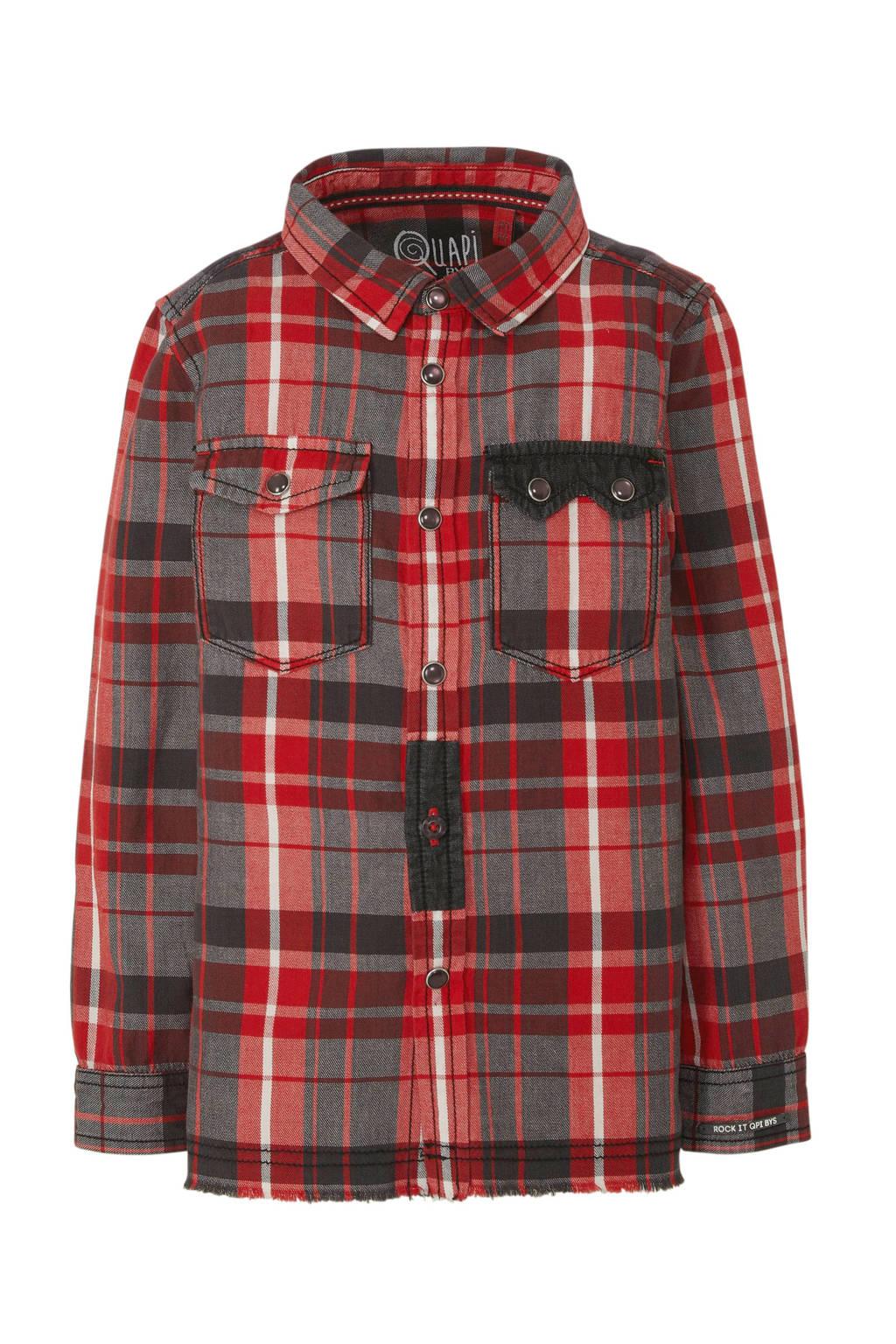 Quapi overhemd Tedde met all over print rood/grijs, Rood/grijs