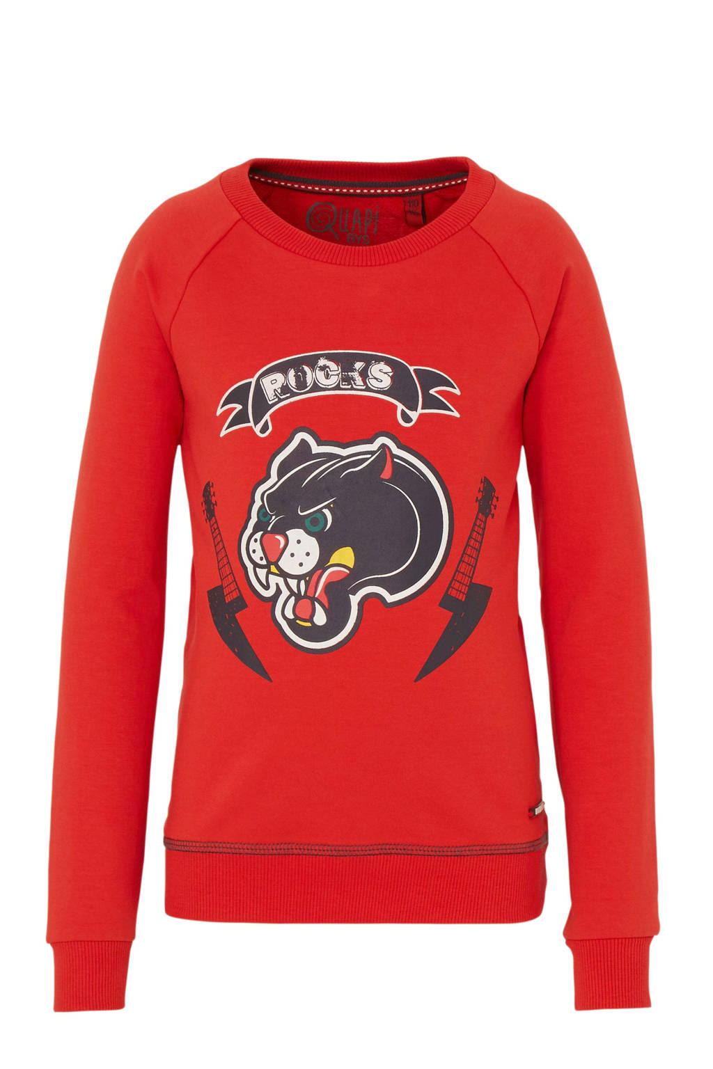 Quapi sweater Thanno met printopdruk rood, Rood