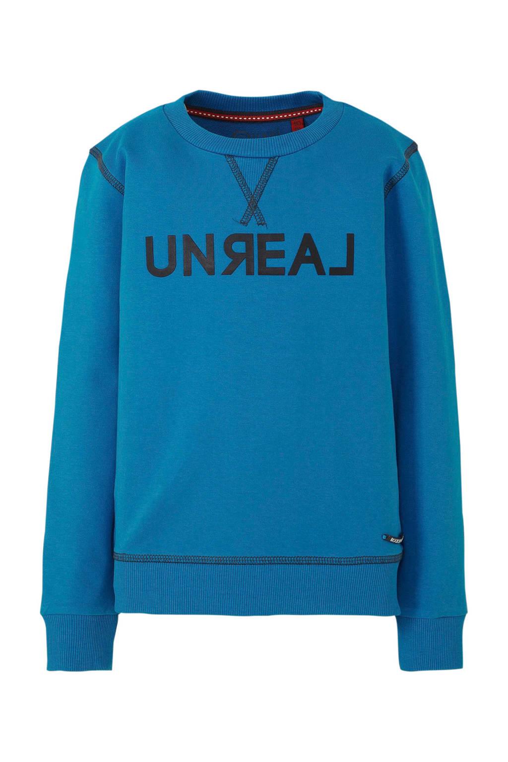 Quapi sweater met tekst blauw, Blauw