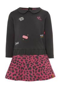 Quapi jurk Vada met all over print donkergrijs/roze, Donkergrijs/fuchsia