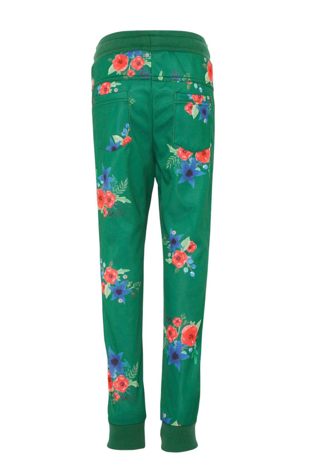 Quapi broek Tiske met bloemenprint en zijstreep groen, Groen