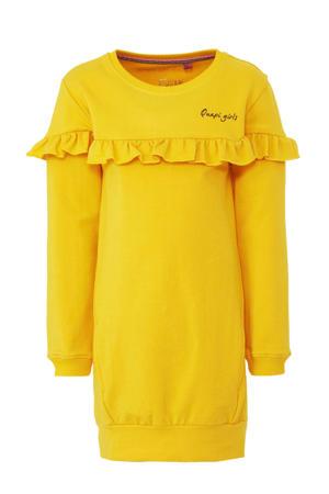 sweatjurk Tanisha met tekst en ruches geel