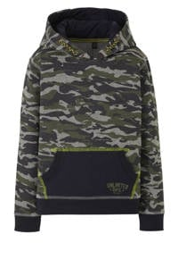 Quapi hoodie Tjebbe met camouflage dessin army, Army groen/donkerblauw