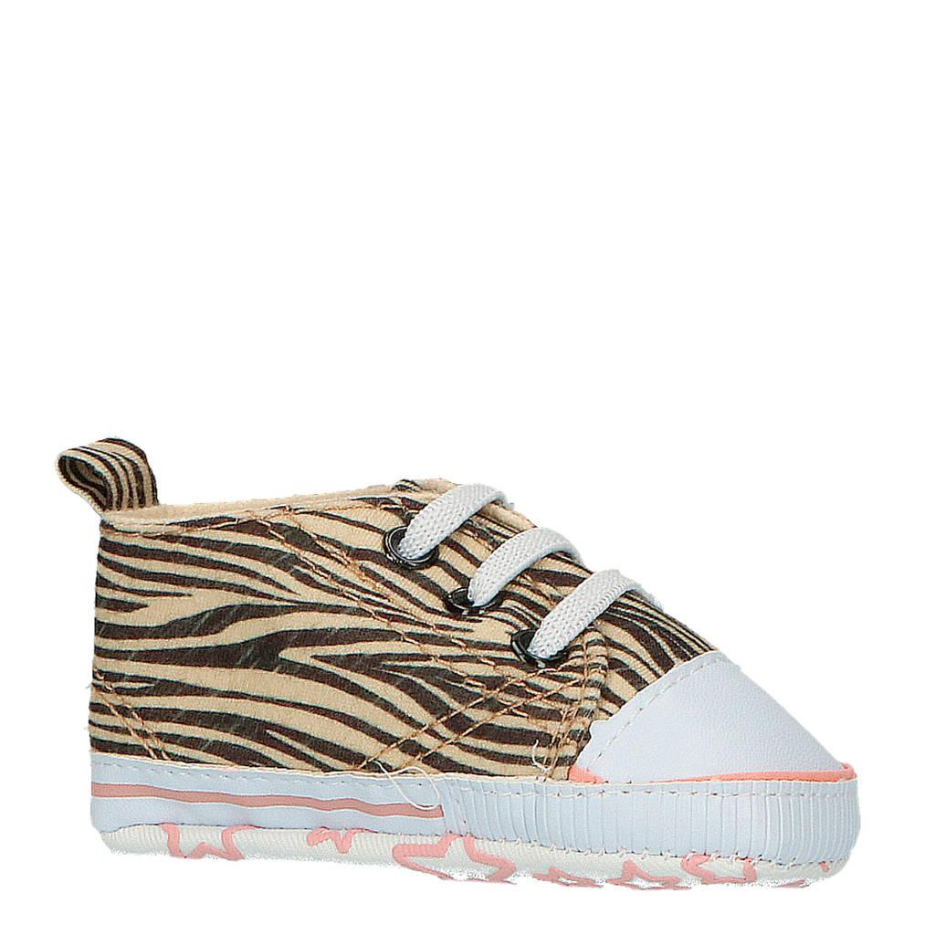 XQ   babyschoenen zebraprint, Zwart/beige