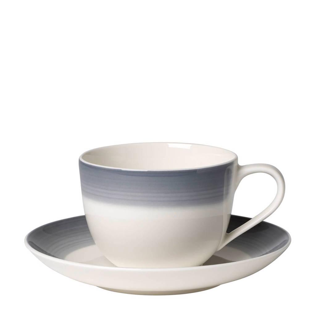 Villeroy & Boch Colourful Life Cosy Grey koffiekop en –schotel, Grijs/wit