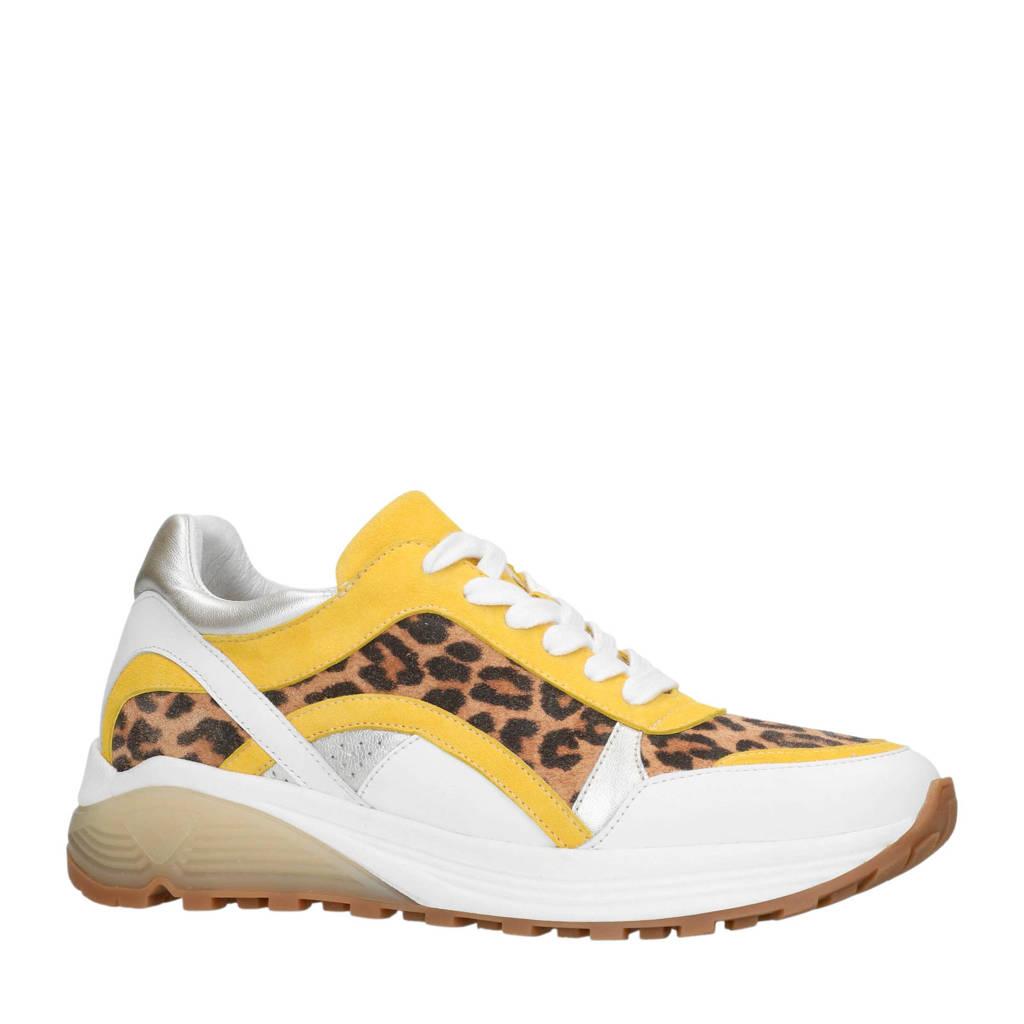 Manfield  leren dad sneakers panterprint geel, Wit/geel