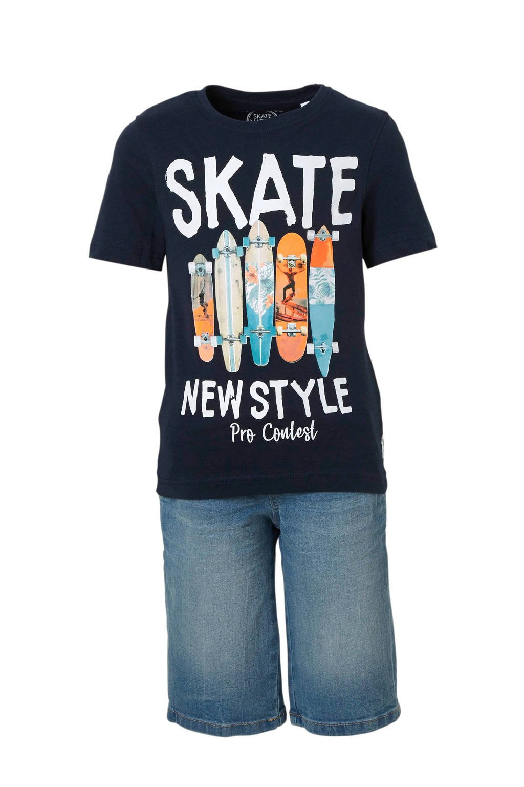C&A Here & There T-shirt + jeans short, Donkerblauw/stonewashed