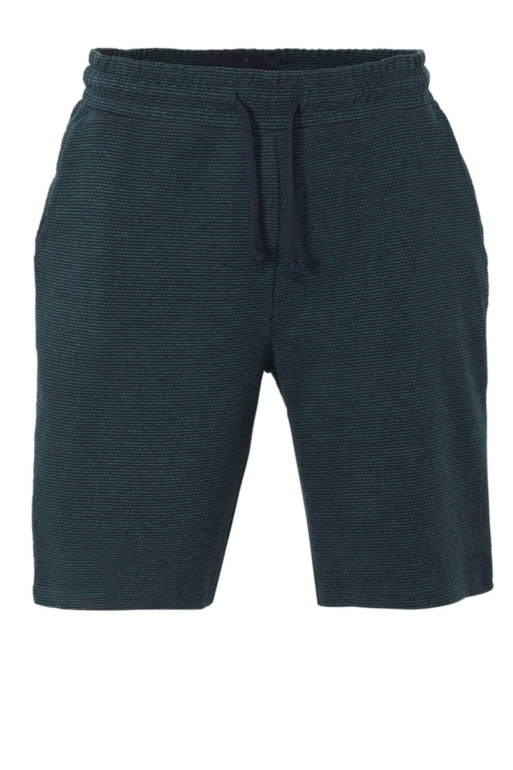C&A Angelo Litrico gemêleerde sweatshort met textuur, Donkerblauw/groen