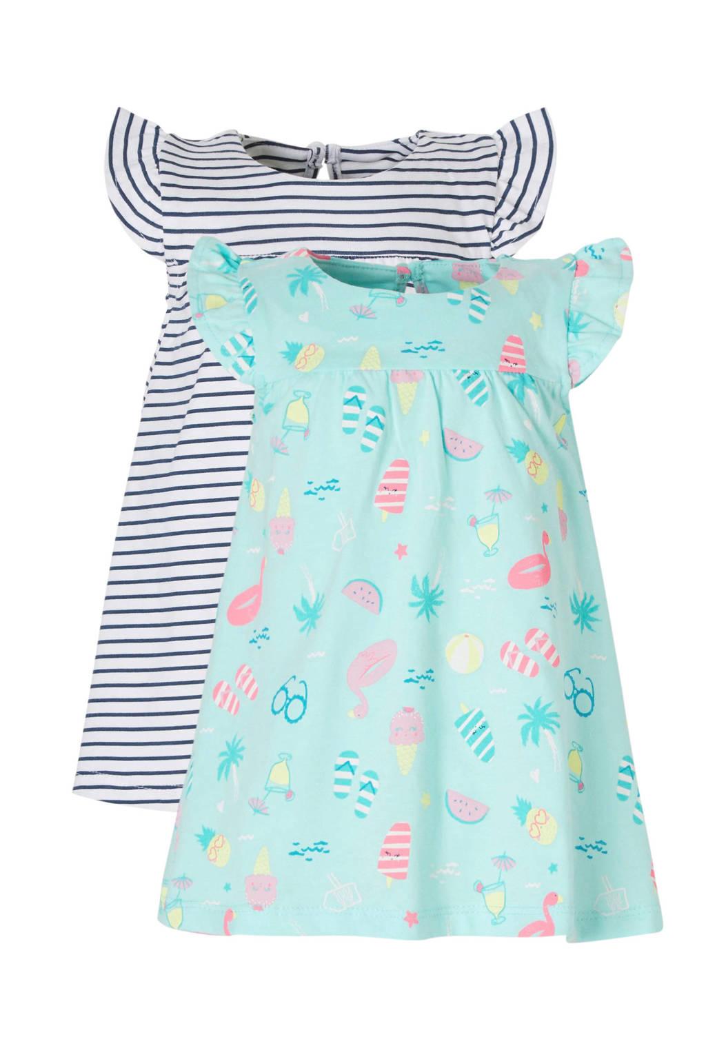 C&A Baby Club jurk - set van 2, lichtblauw/blauw/wit