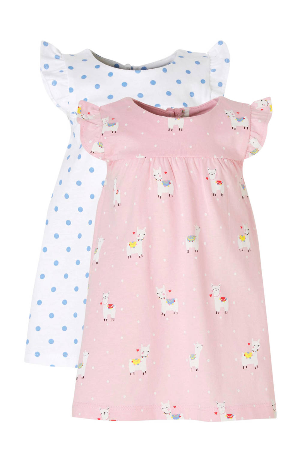 C&A Palomino jurk - set van 2, Lichtroze/wit/blauw