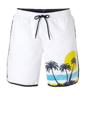 zwemshort met printopdruk wit