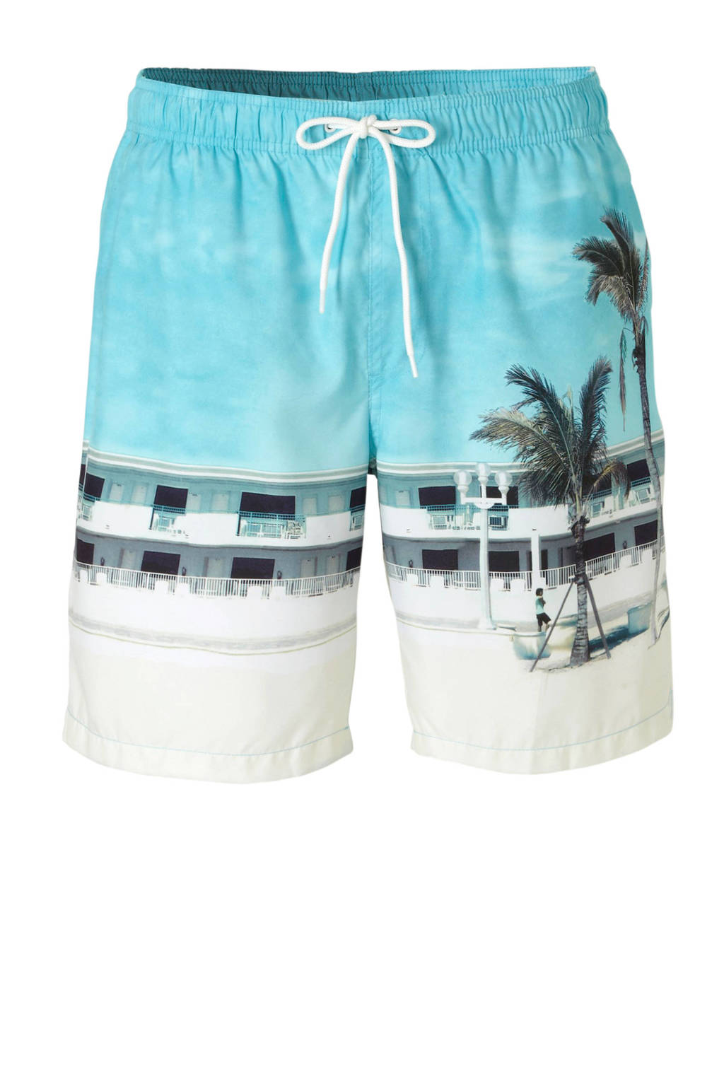 C&A zwemshort met fotoprint turquoise, Turquoise/wit