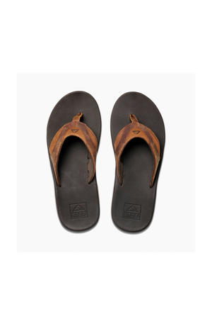 Leather Fanning teenslippers bruin