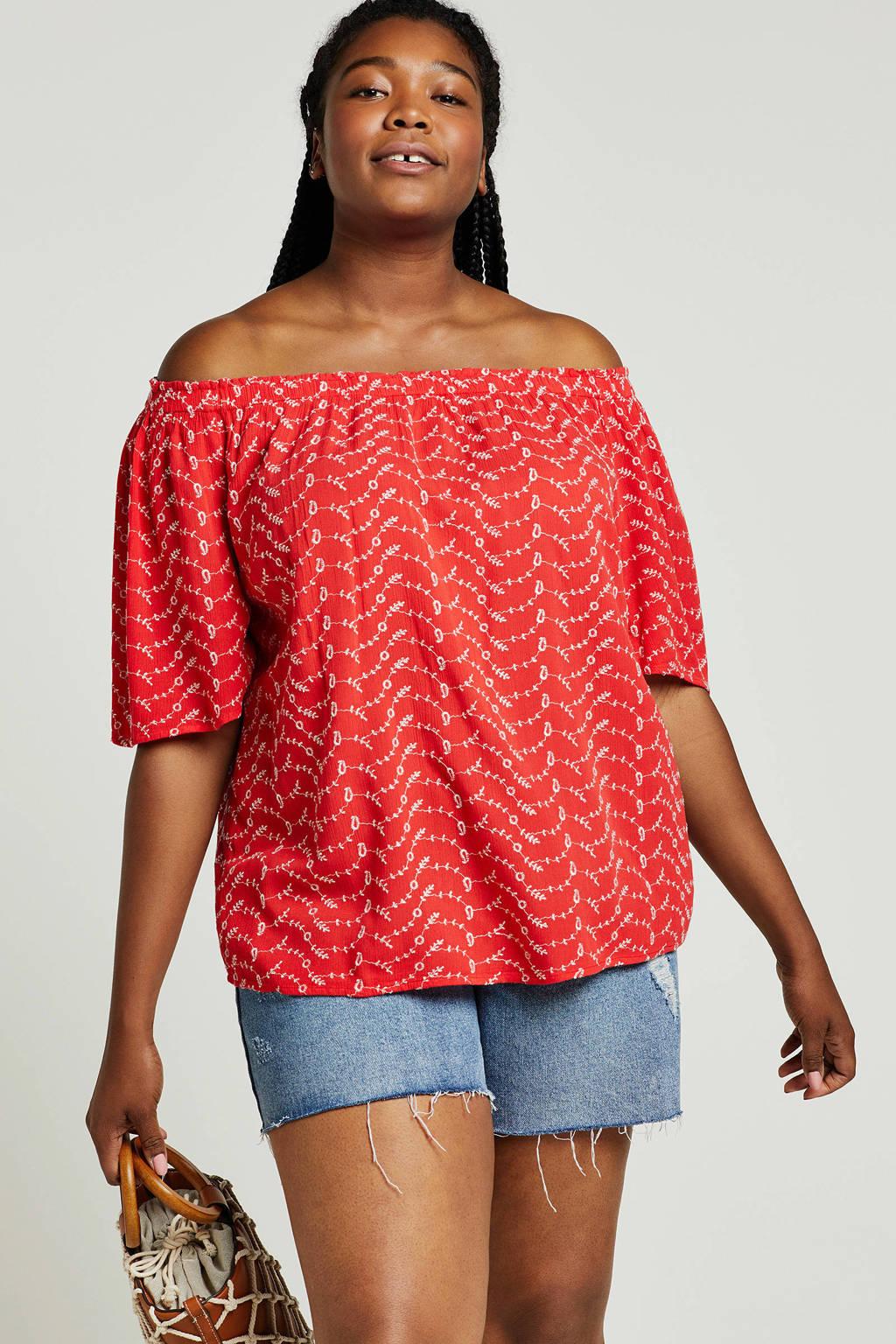 Capsule off shoulder top met all over print rood, Rood/wit