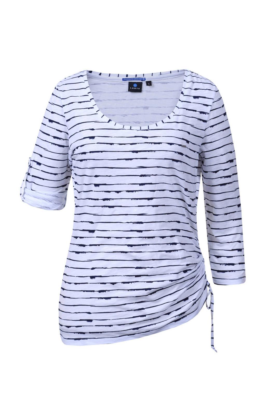 Luhta T-shirt Anniina wit/blauw, Optic White
