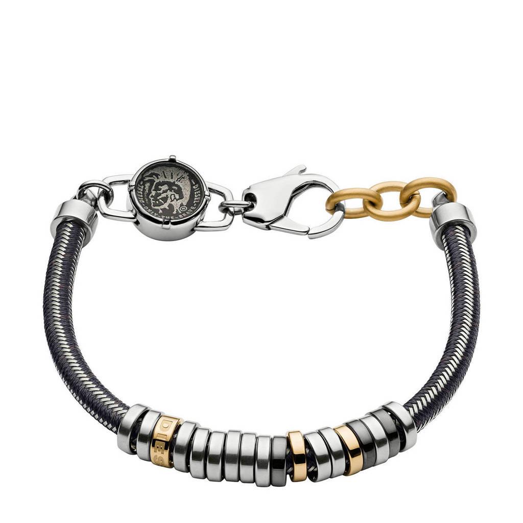 Diesel heren armband Stackables DX1185040, Zilver/goudkleurig