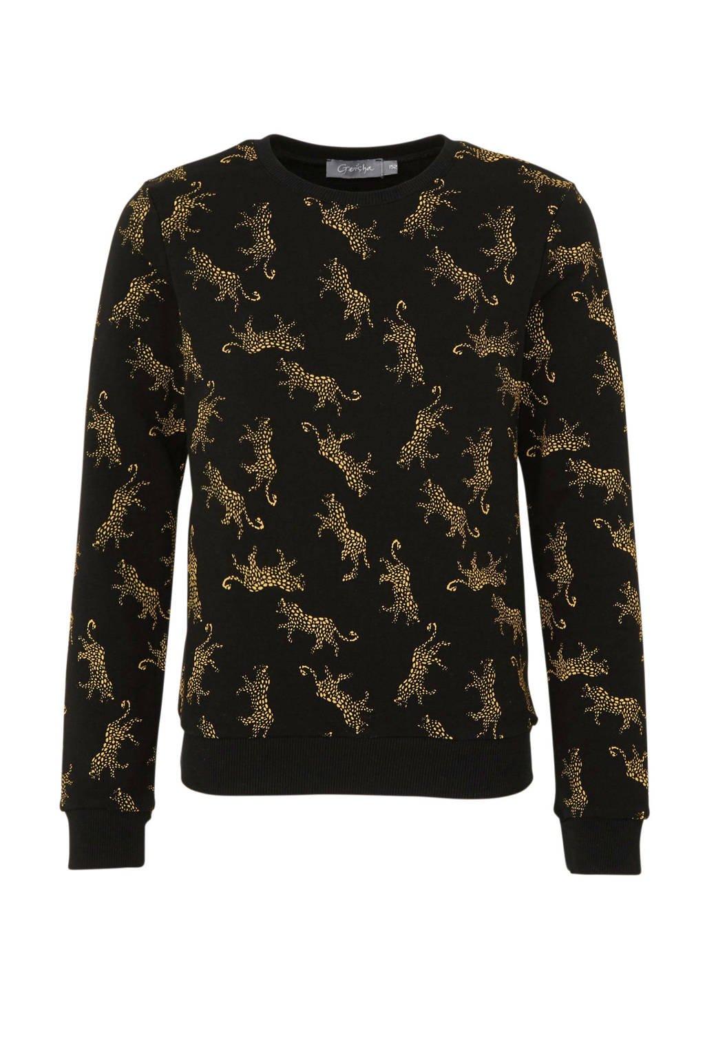 Geisha sweater met all over print zwart/geel, Zwart/geel