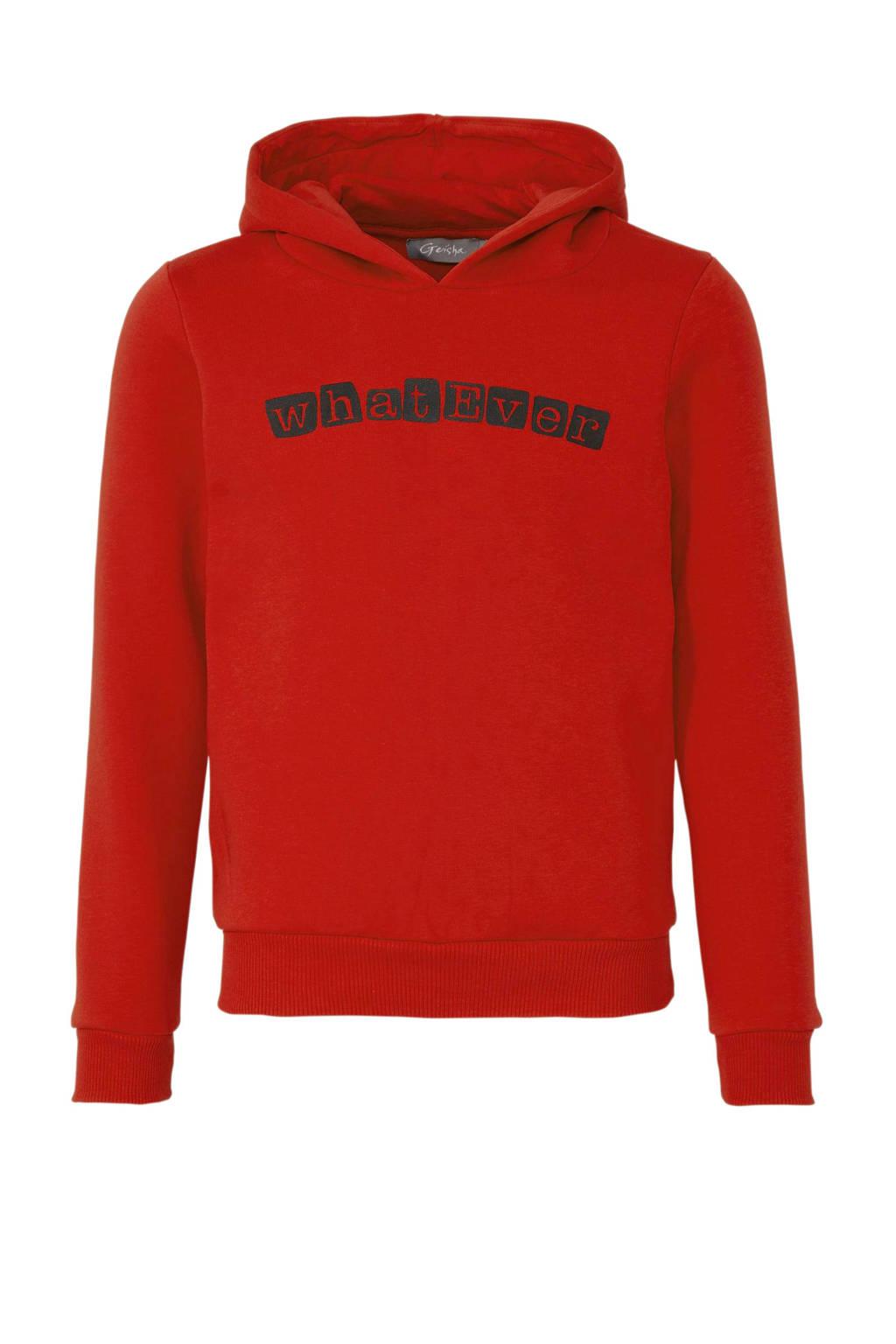 Geisha hoodie met tekst rood, Rood