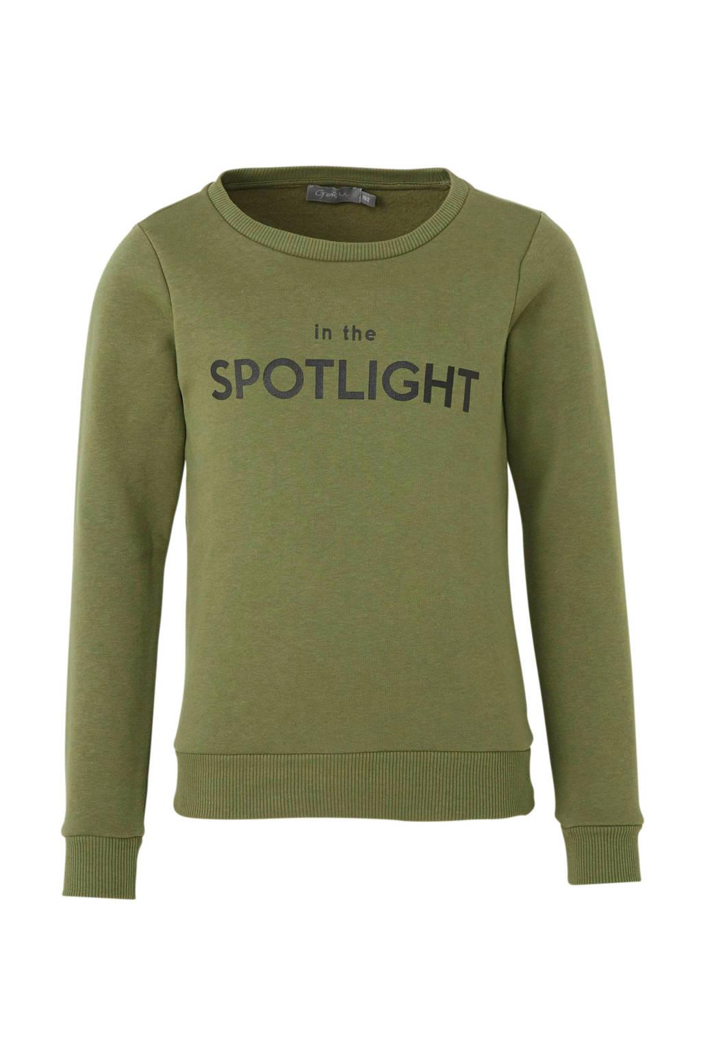 Geisha sweater met tekst groen, Army groen