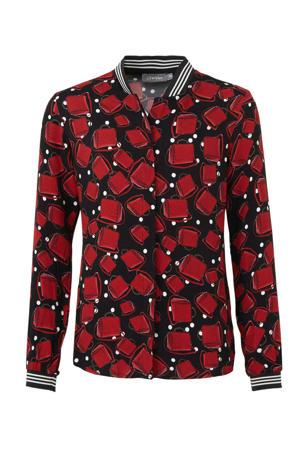 blouse met all over print zwart/rood