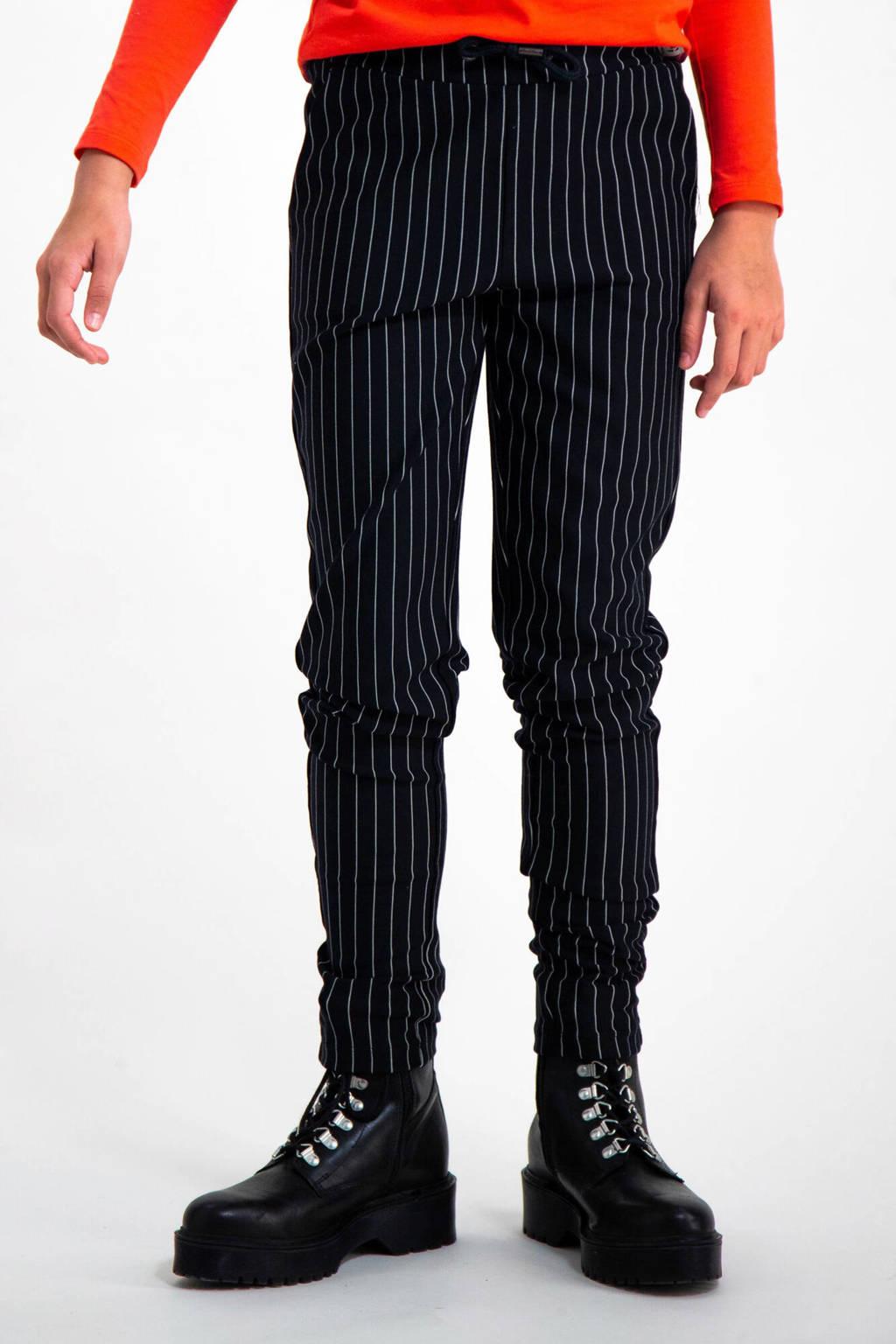 Garcia gestreepte broek zwart, Zwart