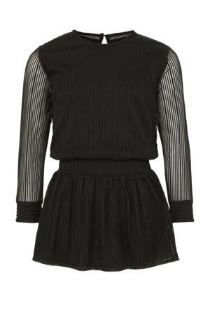 gestreepte semi-transparante jurk Delena zwart