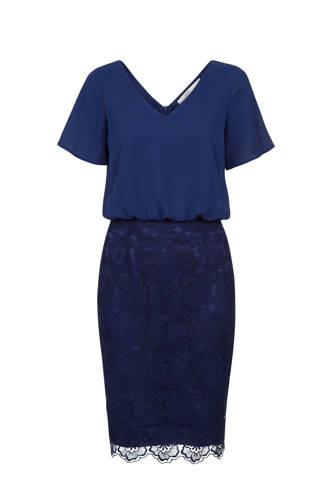 jurk met kantdetail blauw