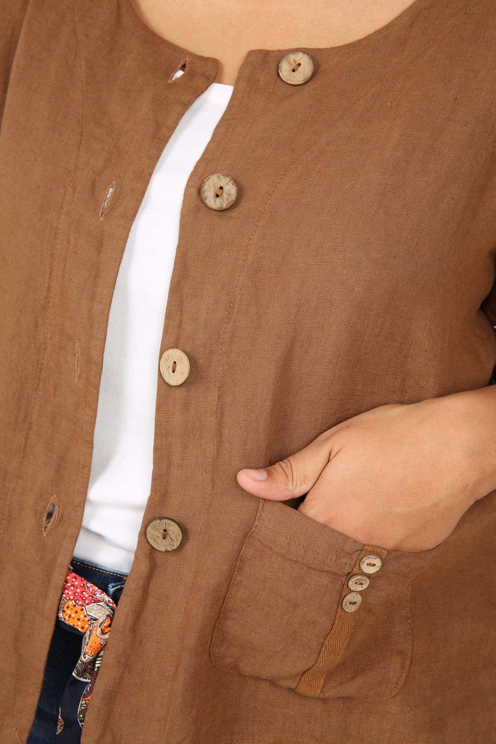 Hedendaags Paprika linnen vestje bruin | wehkamp PM-42