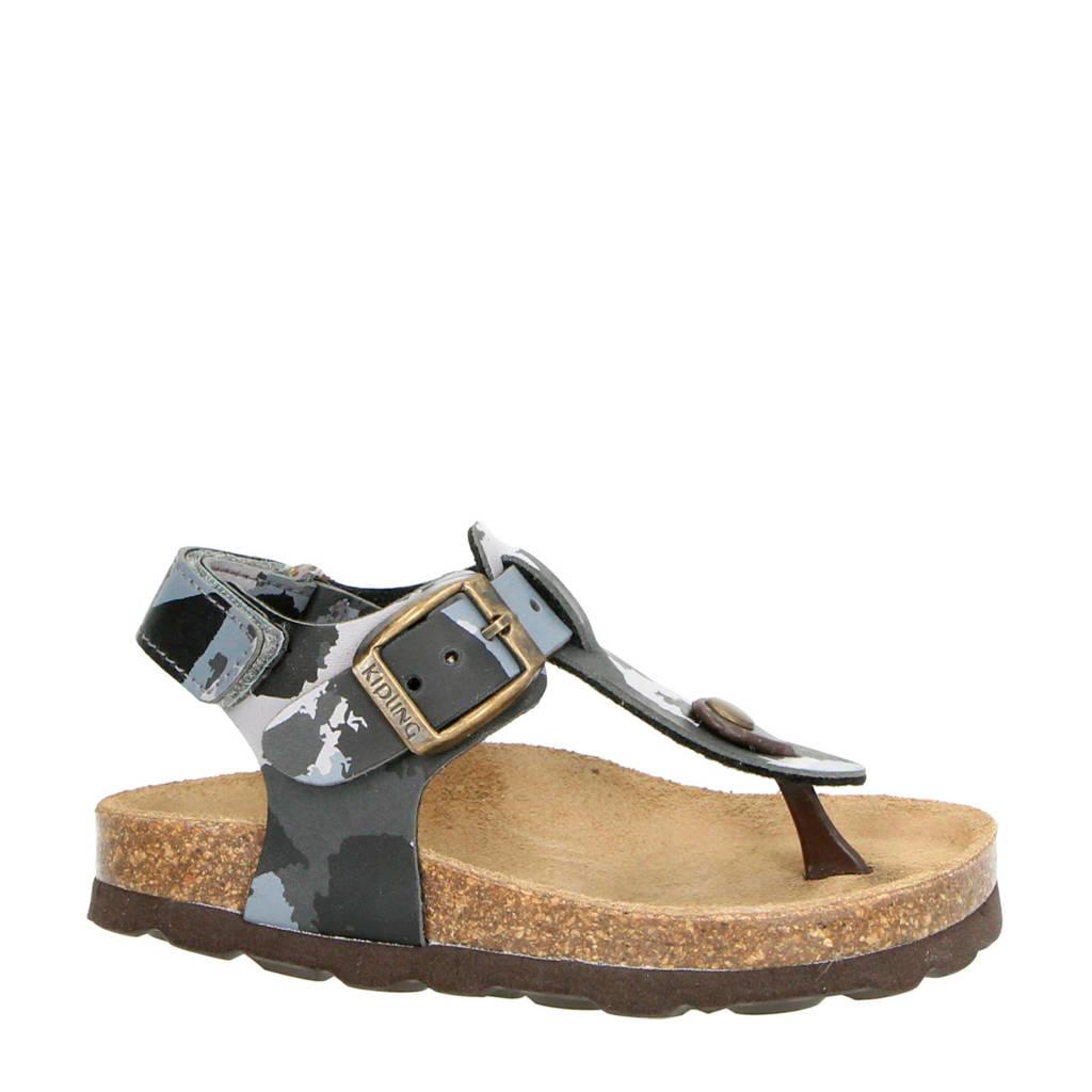 Kipling Kenji 2 sandalen camouflage, Grijs/zwart