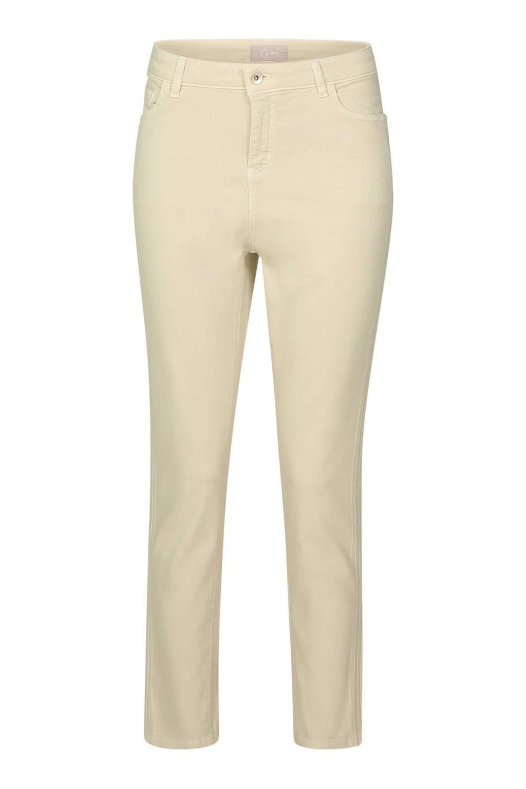 Cassis cropped slim fit broek met pailletten ecru, Ecru
