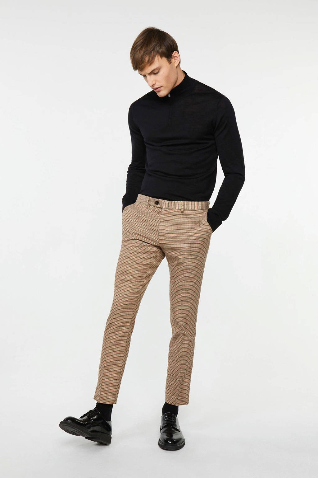 WE Fashion slim fit pantalon sepia, Sepia