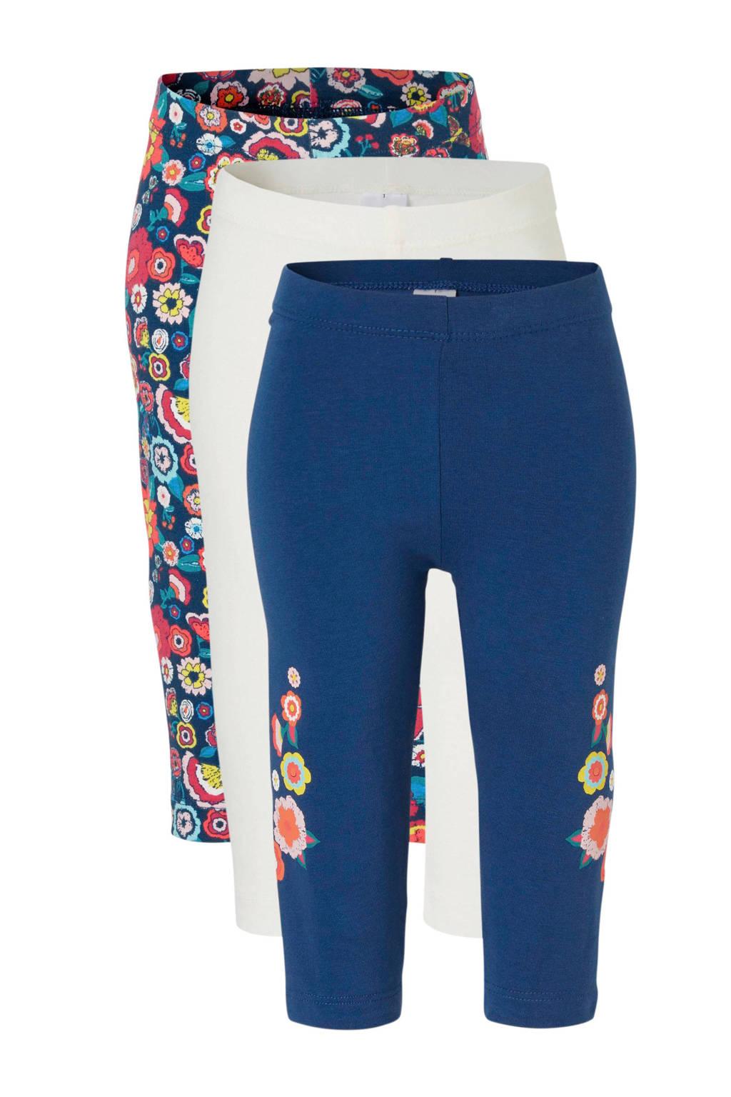 C&A Palomino gebloemde legging - set van 3, Donkerblauw/wit