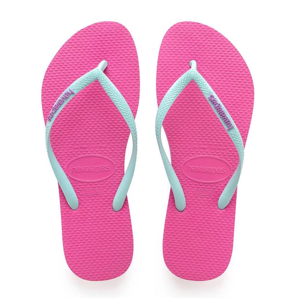 Havaianas Slim Logo teenslippers mintgroen/roze, Mintgroen/roze