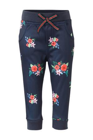 gebloemde skinny broek donkerblauw