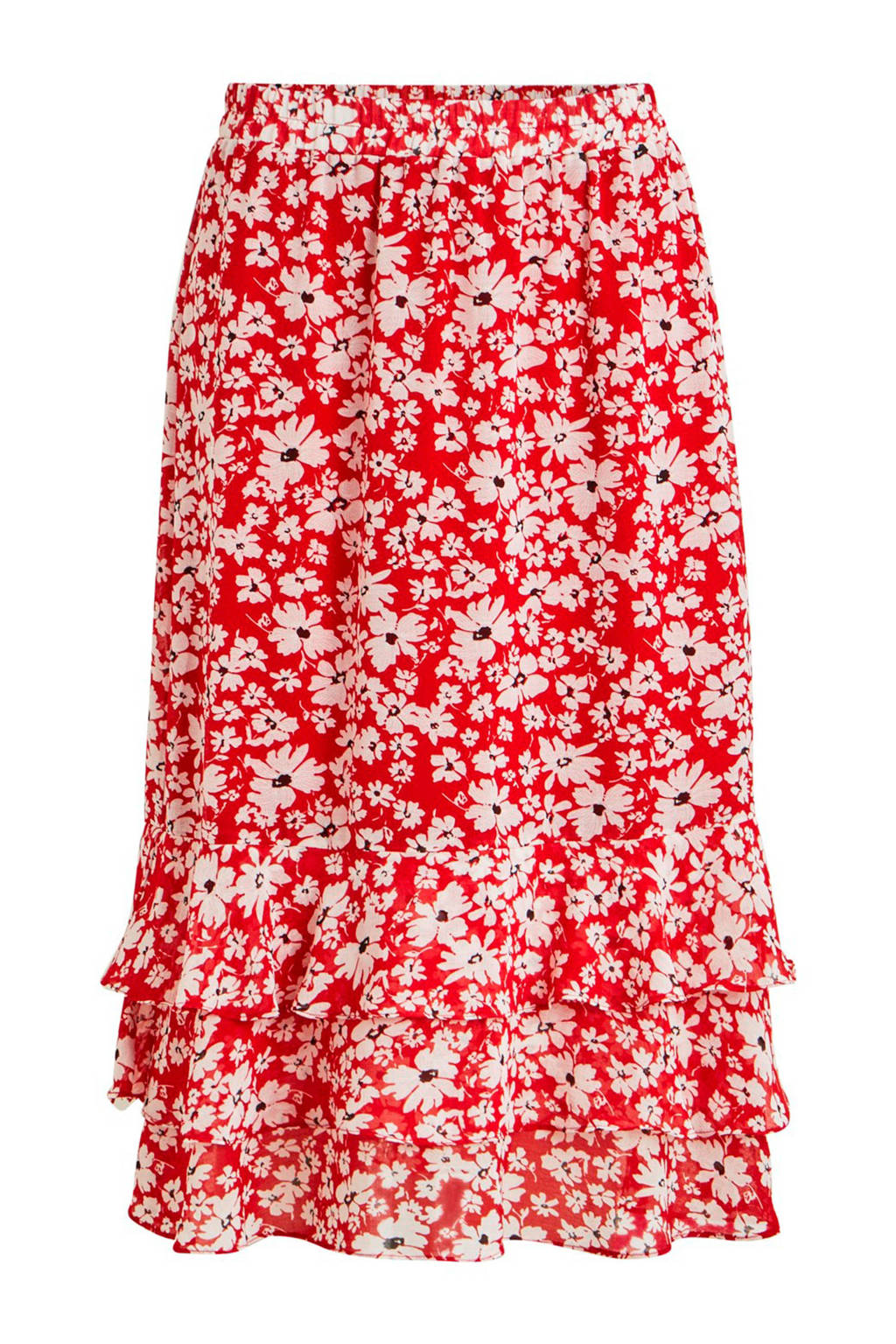 VILA gebloemde rok met volants, Rood/wit