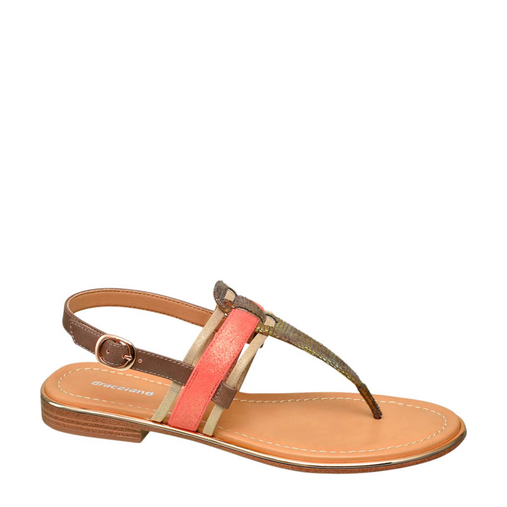 Graceland sandalen brons/roze, Brons/roze